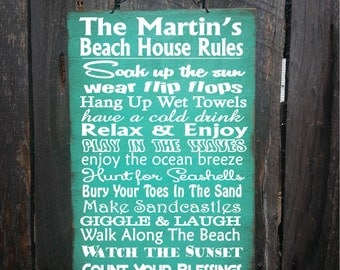 beach decor, beach home decor, beach house art, beach house signs, personalized beach rules, beach rules,  beach rules sign, 18