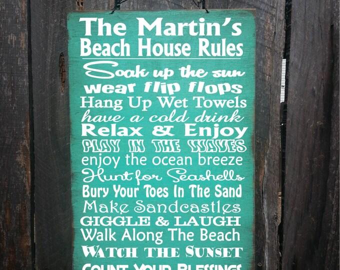 beach decor, beach home decor, beach house art, beach house signs, personalized beach rules, beach rules,  beach rules sign, 18