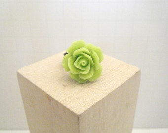 Lime Green Ring - Rose Ring - Adjustable Ring