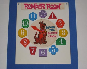 1976 ROMPER ROOM Scooby Doo Toy Puzzle Clock by Hasbro