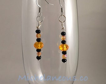Black Iron or Silver Colored Orange and Black Glass Beaded Earrings, Halloween Earrings, Cincinnati Bengals Earrings, Orange and Black