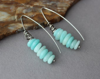 Amazonite Earrings, Long Stacked Light Blue Gemstones on Sterling Silver Ear Wires, Long Dangle Earrings