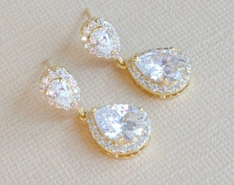 Gold Wedding Earrings: Cubic Zirconia Teardrop Dangle Earrings