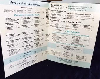 Vintage diner menu Jerry's Pancake Parade