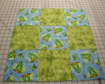 "Wizard Of Oz-Emerald City Tossed on Blue B/G-Quilting Squares-32-6"" Squares-(#11)"