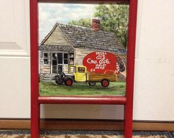 Washboard, coca cola, red, old farm truck, general store, kitchen decor,glass decor