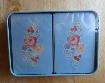 Playing Cards Vintage Hallmark Unopen in Tin Case Spring/Summer Flowers Deck of Cards card games