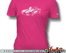 AC Cobra Replica T-Shirt for Women, In the Spotlights, Ladies Size: S - 2XL, Multiple colors available, Great American Car Gift Legend Lines