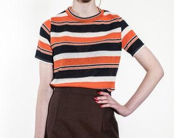 Orange/Navy/White round neck Tee