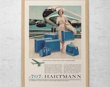 VINTAGE AIRPLANE TRAVEL Ad - 707 Plane Advertisement - 1950's Travel Ad Retro Mid-Century Airline Retro Airplane Poster Air Travel Art