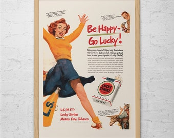 CLASSIC LUCKY STRIKE Ad - Vintage Cigarette Ad - Mid-Century Poster Vintage Lucky Strike Cigarette Ad Retro Bar Poster 50's Barware Poster