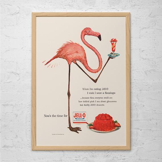 Vintage Jello Ad Pink Flamingo Poster Vintage Kitchen Art