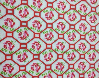 Sugar Hill by Tanya Whelan - Rose Trellis in Red - 1 yard cotton fabric