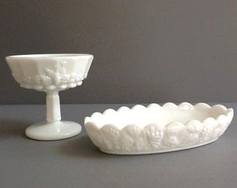 Mid Century Westmoreland Milk Glass Pedestal Compote Dish and Relish Tray, Grape Leaf Pattern