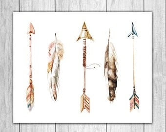 Feather Art 8x10 -  Watercolor Feather, Hunting Decor, Rustic Decor, Nursery Art, Nursery Decor, Wall Art, Home Decor