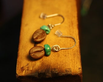 coffee bean earrings with turquoise gems