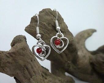 Pretty Silver Plated Love Heart earrings with red rhinestone, Silver earrings