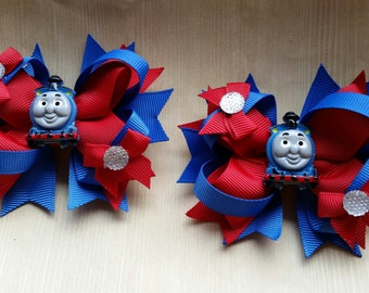 Thomas the Train girls hair bows. Set of 2. Perfect for piggy tails :)