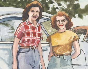 "Girls with cars - 6x6"" Original gouache two 50s girls in jeans by neat old cars - Americana"