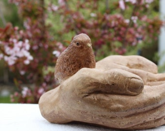 Bird in Hands - Garden Stone Decor -Bird Feeder - Bird Bath - Made in Cornwall
