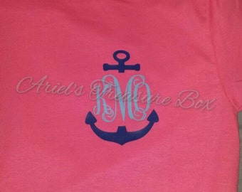 Anchor monogram vinyl shirt for women, teens and girls