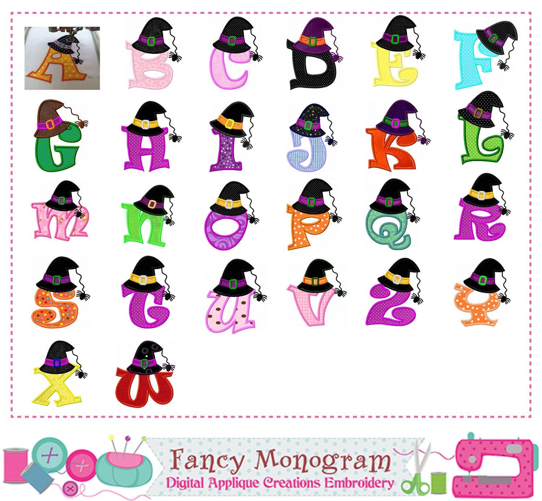 Witch hat Monogram A~Z applique,Halloween,Letters applique,Fonts ...
