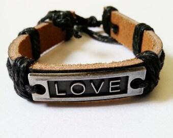 Men's Black Real Leather 'LOVE' Bracelet