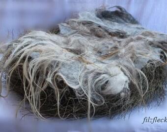 felted Flokati / blanket / basket filler newborn grey/brown
