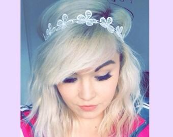 Daisy Trim Headband, festival headband, flower lace headband, elasticated headband, flower hair accessory