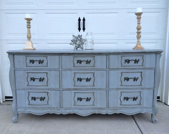 SOLD! SOLD! Stunning Vintage French Provencial Dresser Buffet Entryway Foyer Table 9 Drawer