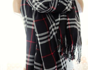 Plaid scarf - Cotton scarf - woman scarf - scarves - Long scarf -  gift scarf