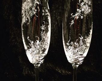Glasses of cava or champagne.