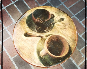 Espresso coffee cups photograph on pine circular wooden table and vintage wooden table legs