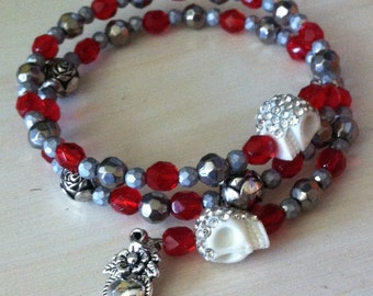 Sacred Heart Rose and Sparkle Skulls Braclet