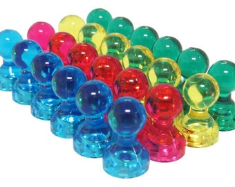 24 Pack - Translucent Assorted Color Small Magnetic Push Pins - High Grade Neodymium Fridge Magnets - Small Push Pin Magnets