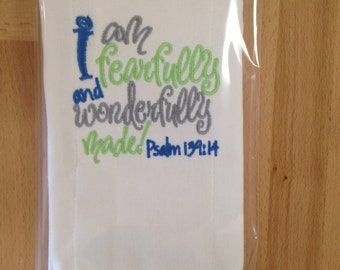Bible verse baby burp cloth