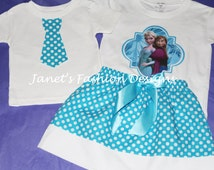 Frozen Sisters Turquoise Skirt White Polka Dot and TShirt/Onesie Siblings Set - Set of Two Disney's Outfit Boys/Girls Personalized Birthday