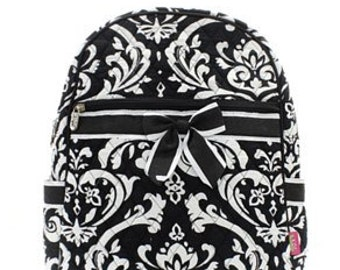 Damask Print Monogrammed Quilted Backpack Black and White