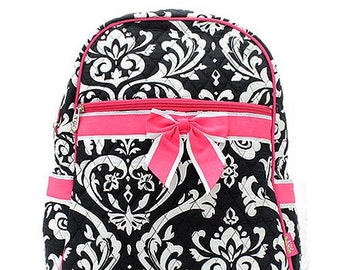 Damask Print Monogrammed Quilted Backpack Black and White with Hot Pink Trim