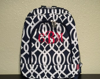 Vine Print Monogrammed School Backpack Navy Blue and White