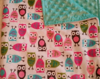 Owl theme Double Sided Minky Baby Blanket