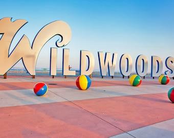 Wildwoods sign at Wildwood, NJ | Jersey Shore Canvas Art 12x14