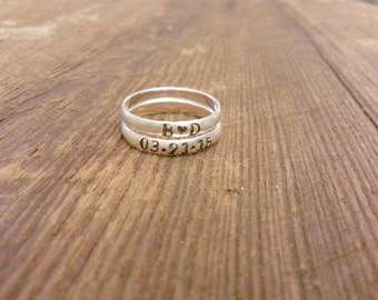 Thin Rounded Sterling Silver Hand Stamped Mothers Ring