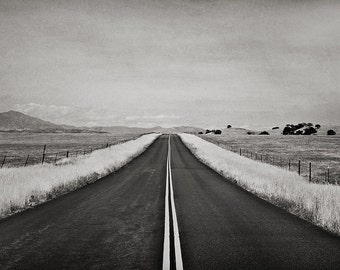 Landscape Photography, Travel Photography, Open Highway, Minimalist Landscape Art, Black and White Photographic Print - American Road Trip