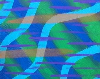 "Blue, Green, Teal, Orange Original Acrylic Abstract Painting on Canvas ""Series 6 XLVII"" 16x20"" Wall Art Decor"