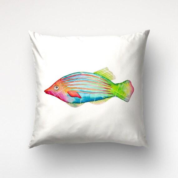 Coral Reef Fish Pillow, Colorful Sea Animal, Beach House Decor, Illustration Art