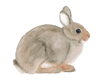 Watercolor Rabbit- art print woodland nursery art watercolor bunny children's forest art animal art animal watercolor brown gray 5x7+