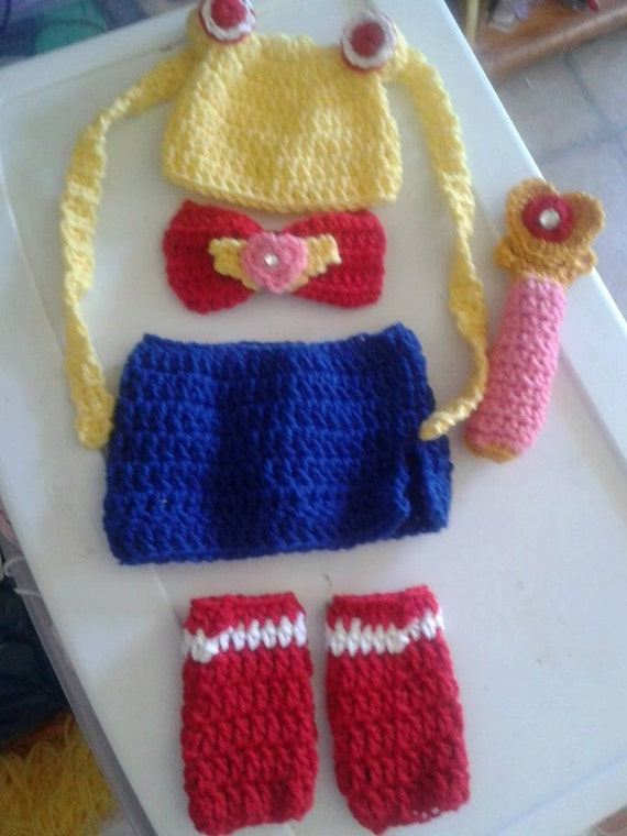 Crochet Sailor Moon baby outfit by DustysCrochetProps on Etsy