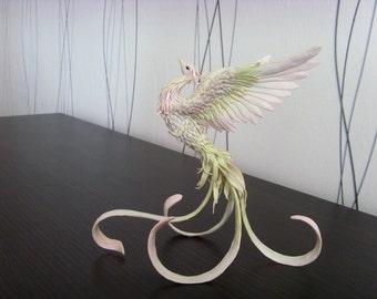 Phoenix bird - original handmade OOAK, Statuette Fire bird Figurine Statue Figure Fantasy Bird Sculpture white green Creature