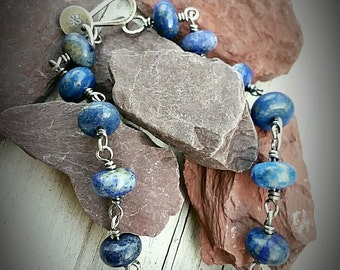 Bracelet-Semi Precious Lapis Rondelles-Sterling Silver- Wire Wrapped-Handcrafted